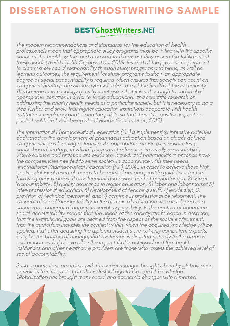 dissertation ghostwriting sample